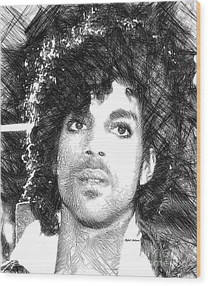 Prince - Tribute Sketch In Black And White 3 Wood Print