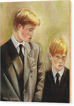 Prince William And Prince Harry Wood Print by Carole Spandau