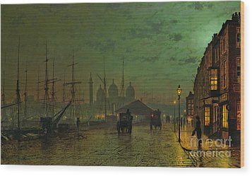 Prince's Dock Hull Wood Print by John Atkinson Grimshaw
