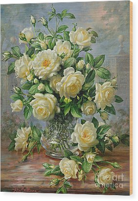 Princess Diana Roses In A Cut Glass Vase Wood Print by Albert Williams