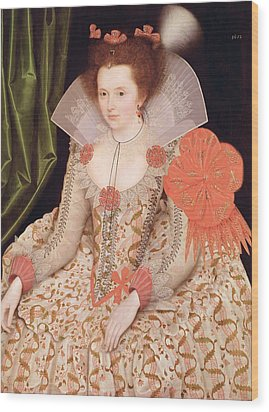 Princess Elizabeth The Daughter Of King James I Wood Print by Marcus Gheeraerts
