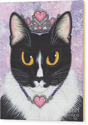 Princess Fiona -tuxedo Cat Wood Print by Carrie Hawks