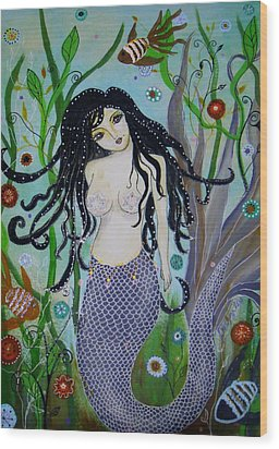 Wood Print featuring the painting Princess Mermaid by Pristine Cartera Turkus