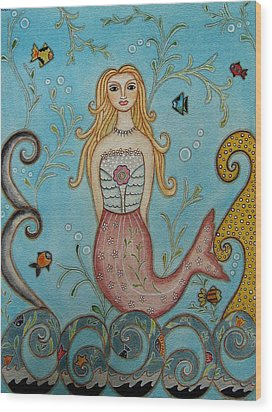 Princess Mermaid Wood Print by Rain Ririn