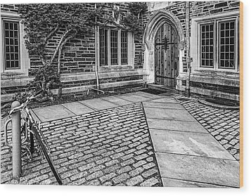 Wood Print featuring the photograph Princeton University Foulke Hall Bw by Susan Candelario