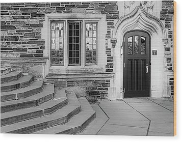 Wood Print featuring the photograph Princeton University Lockhart Hall Bw by Susan Candelario