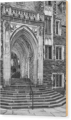Wood Print featuring the photograph Princeton University Lockhart Hall Dorms Bw by Susan Candelario