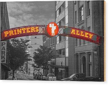 Printers Alley Sign Wood Print