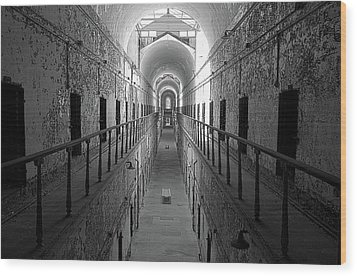 Prison Cell Hall Wood Print