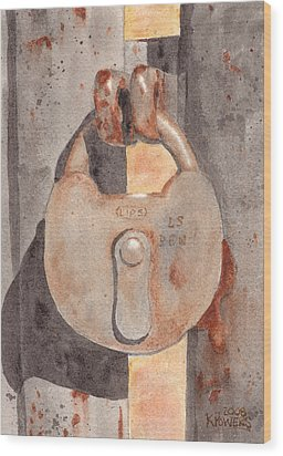 Prison Lock Wood Print by Ken Powers