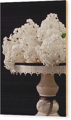 Pristine Lilacs On A Music Pedestal Wood Print