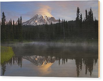 Pristine Reflections Wood Print by Mike  Dawson
