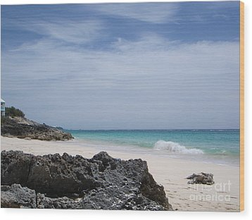 Private Bermuda Beach Wood Print by PJ  Cloud