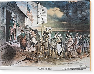 Pro-immigration Cartoon Wood Print by Granger