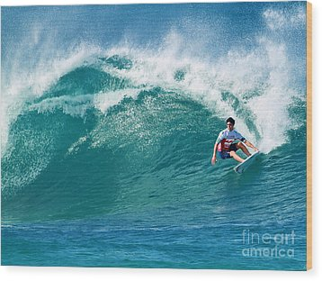 Pro Surfer Gabriel Medina Surfing In The Pipeline Masters Contes Wood Print by Paul Topp