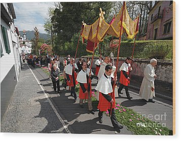 Procession In Azores Islands Wood Print by Gaspar Avila