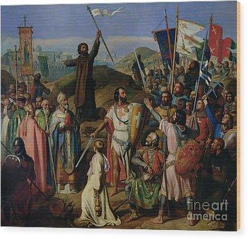 Procession Of Crusaders Around Jerusalem Wood Print by Jean Victor Schnetz