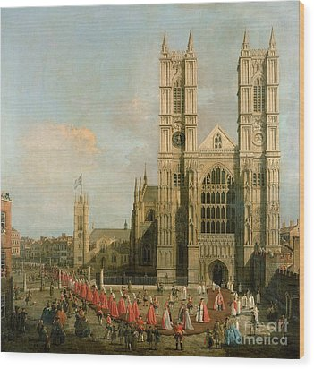 Procession Of The Knights Of The Bath Wood Print by Canaletto