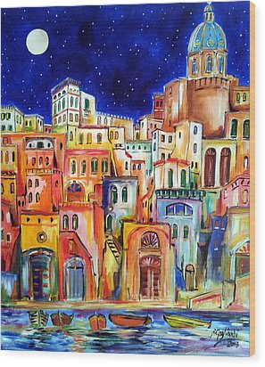 Procida Under The Moon Wood Print