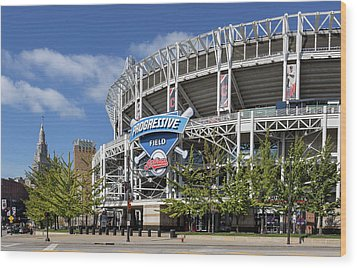 Wood Print featuring the photograph Progressive Field In Cleveland Ohio by Dale Kincaid