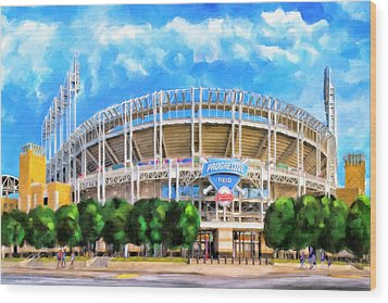 Wood Print featuring the mixed media Progressive Field - Cleveland Baseball by Mark Tisdale