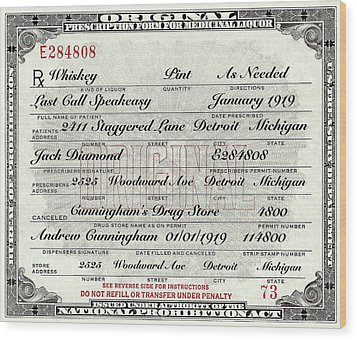 Wood Print featuring the photograph Prohibition Prescription Certificate Establishments by David Patterson