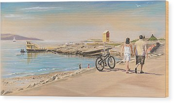 Promenade At Salthill Galway Wood Print by Vanda Luddy