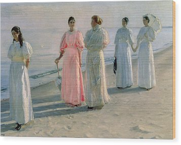 Promenade On The Beach Wood Print by Michael Peter Ancher