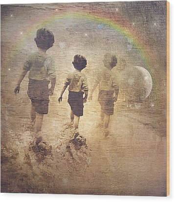 Phases Of The Journey--the Promise Of The Rainbow Wood Print
