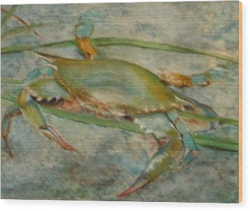 Propa Blue Crab Wood Print by Sibby S