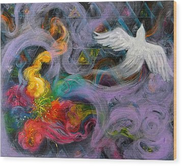 Prophetic Message Sketch Painting 10 Divine Pattern Dove Wood Print by Anne Cameron Cutri