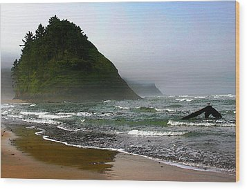 Proposal Rock At Neskowin Beach Wood Print