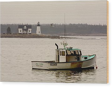 Prospect Harbor Lighthouse Wood Print by Brent L Ander