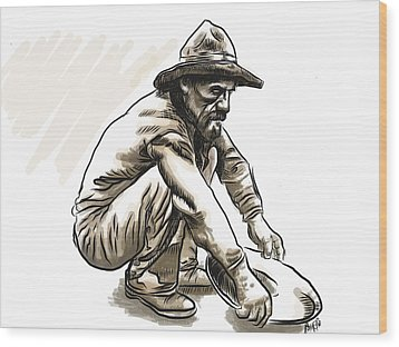 Wood Print featuring the drawing Prospector by Antonio Romero