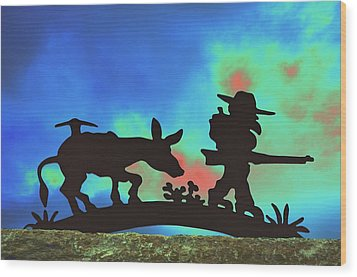 Prospector's Silhouette Wood Print by Richard Henne