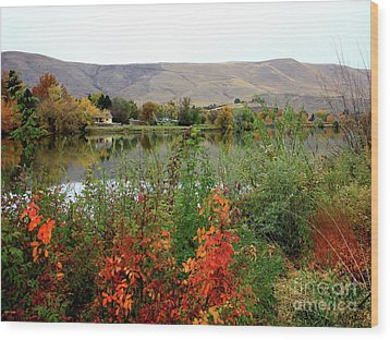 Prosser Autumn River With Hills Wood Print by Carol Groenen