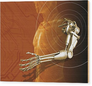 Prosthetic Robotic Arm, Computer Artwork Wood Print by Victor Habbick Visions