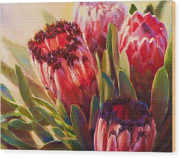 Wood Print featuring the painting Protea - Tropical Flowers From Hawaii by Karen Whitworth