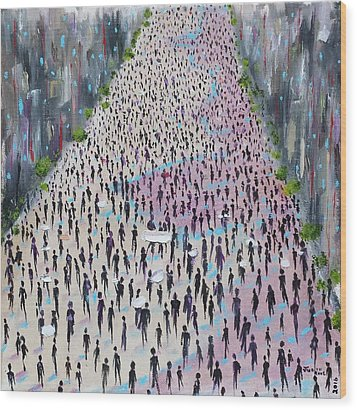 Wood Print featuring the painting Protesters by Judith Rhue