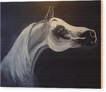 Proud Arabian Stallion Wood Print by Glenda Smith