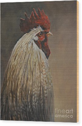 Proud Rooster Wood Print by Charlotte Yealey