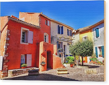 Provencal Plaza Wood Print by Olivier Le Queinec