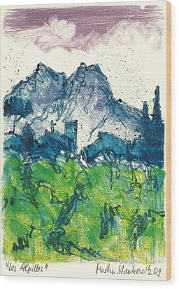 Wood Print featuring the painting Provence Landscape Alpilles by Martin Stankewitz