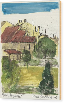 Wood Print featuring the painting Provence Landscape Sainte Marguerite by Martin Stankewitz