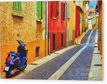Provence Street With Scooter Wood Print by Olivier Le Queinec