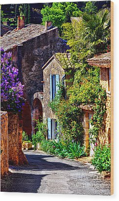 Provence Village Street In Spring Wood Print by Olivier Le Queinec