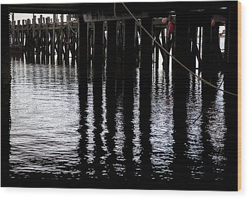 Wood Print featuring the photograph Provincetown Wharf Reflections by Charles Harden