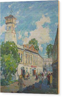 Provincial Russian City Wood Print by Juliya Zhukova