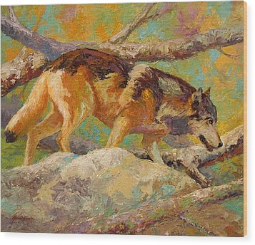 Prowler - Grey Wolf Wood Print by Marion Rose