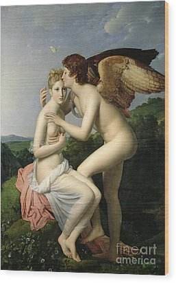 Psyche Receiving The First Kiss Of Cupid Wood Print by Gerard